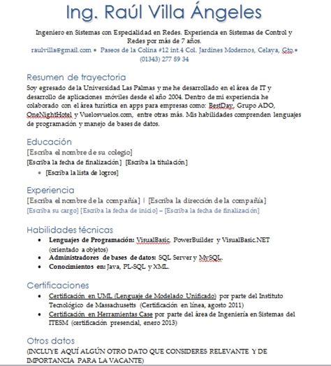 Plantillas De Curriculum Vitae Para Recien Egresados curriculum vitae ingeniero en sistemas gt ejemplos