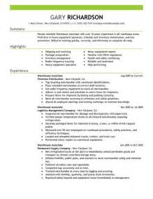 Warehouse Resumes Exles by Warehouse Associate Resume Sle My Resume