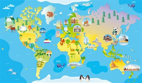 map world mouments world map continents world monuments illustration