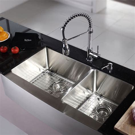 kraus farmhouse 60 40 bowl kitchen sink and chrome