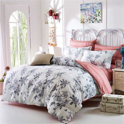 Bed Bigland Flora White grey floral comforters and quilts white bed sheets shabby