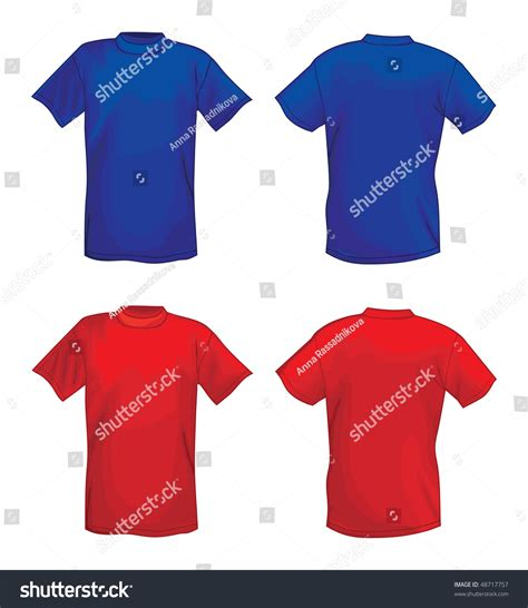 design a shirt front and back blue and red vector t shirt design template front back