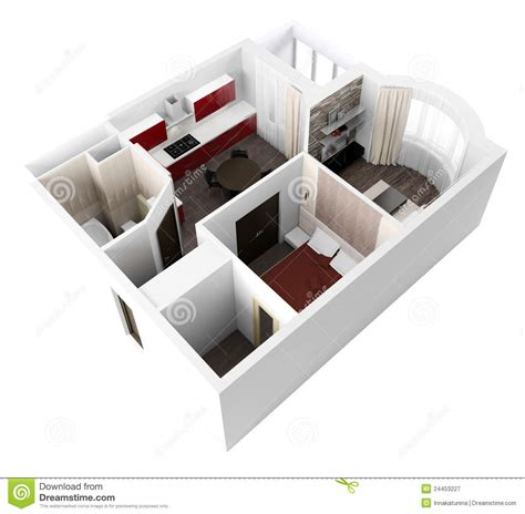 3d projects 3d project of interior apartament royalty free stock