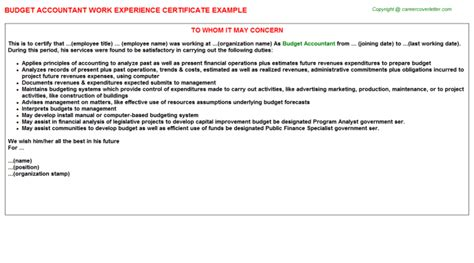 Budget Accountant Cover Letter by Accountant Work Experience Certificates