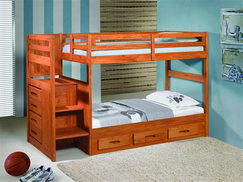 Wooden Bunk Bed With Stairs Wooden Bunk Beds With Desk And Stairs Robinson House Decor