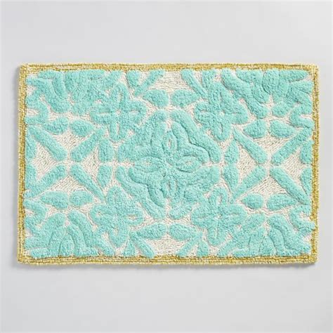 turquoise bathroom rugs aqua floral tile tufted bath mat everything turquoise