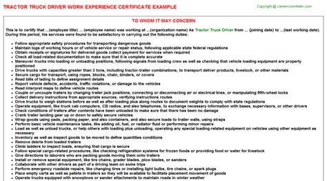Experience Letter Truck Driver Heavy Truck Driver Work Experience Certificates