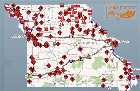 modot traveler map road closures mount in nw missouri