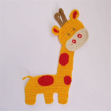 giraffe applique crochet applique giraffe animal for jungle decor 1pcs