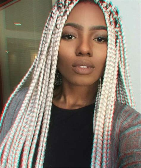 blonde braids in hair black women platinum blonde box braids hair inspiration pinterest