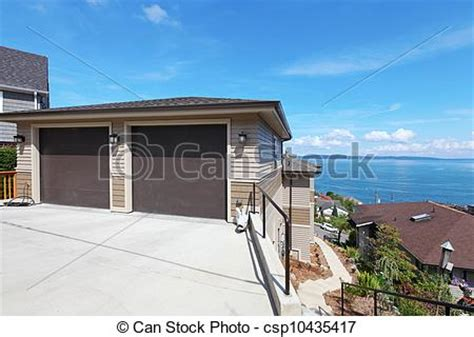 Garage On The Hill Two Car Garage On The Hill Royalty Free Stock Photo