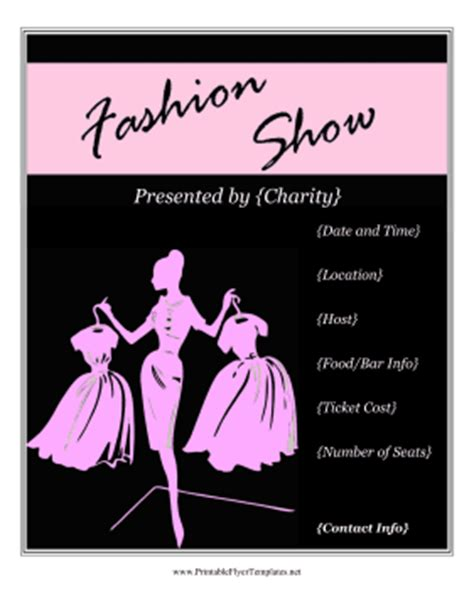 fashion show ticket template free printable fashion show flyers invitations ideas