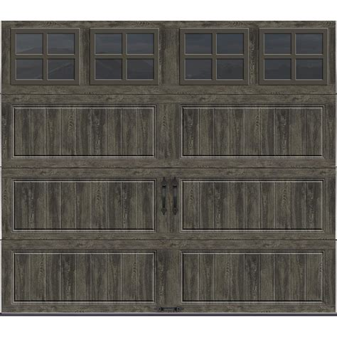 clopay gallery collection 8 ft clopay gallery collection 8 ft x 7 ft 18 4 r value intellicore insulated ultra grain slate