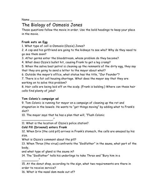 Osmosis Worksheet Answer Key by Osmosis Jones Worksheet Abitlikethis