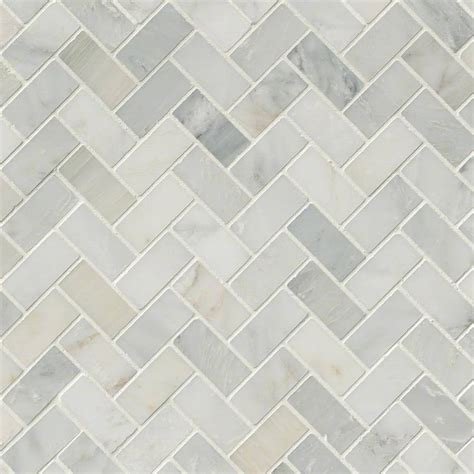 arabescato carrara marble 1x2 herringbone pattern honed mosaic tile