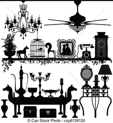 English Home Decoration vector clipart of antique home decoration furniture a