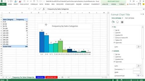 Statistics In Excel Excel 2013 Pivottables Charts For Descriptive Statistics