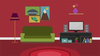 Livingroom Cartoon Cartoon Modern Colorful Living Room Animation With Space