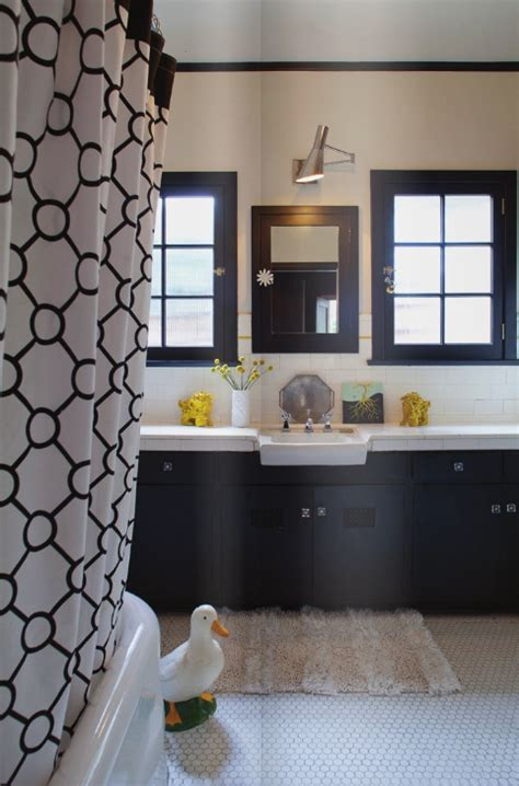Black and white shower curtain eclectic bathroom house of honey