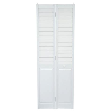 Louvered Bifold Closet Doors Sizes Home Fashion Technologies 28 In X 80 In 3 In Louver Panel White Composite Interior Closet Bi