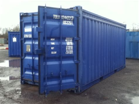 hire a storage container 20 ft 8ft wide blue 20ft steel storage container 20ft