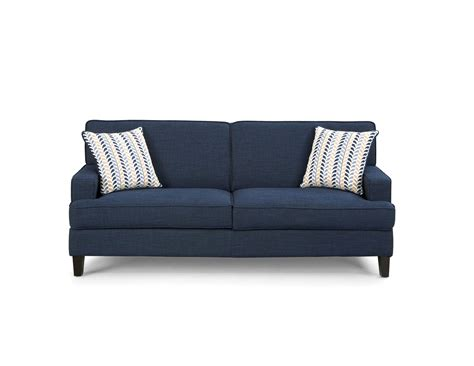 ink on sofa finley transitional ink blue fabric pillow back sofa the