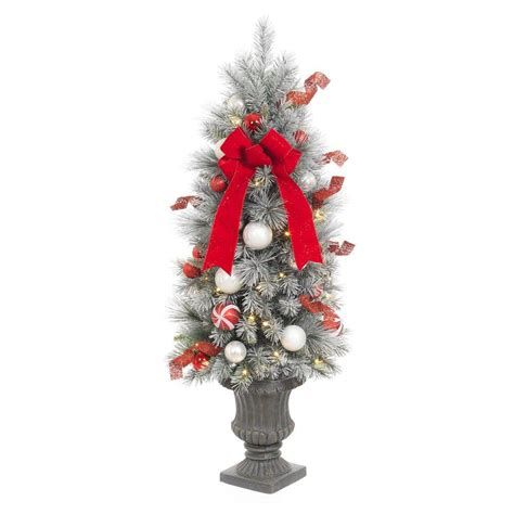 home accents holiday 4 ft pre lit flocked porch tree with