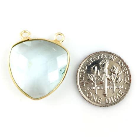 bezel gemstone connector pendant aqua quartz gold