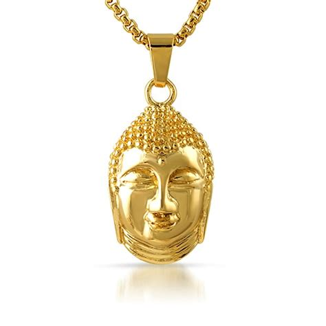 gold thai buddha pendant stainless steel stainless steel