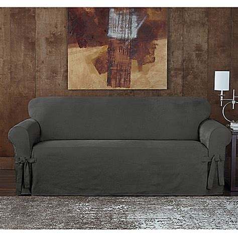 grey twill sofa slipcover buy sure fit 174 designer sueded twill sofa slipcover in grey