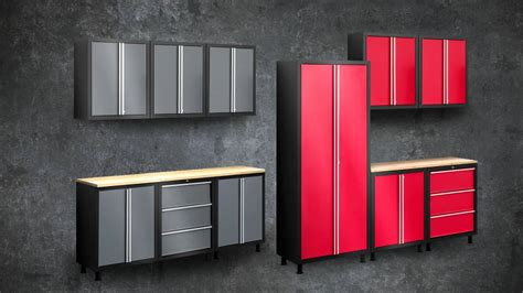 wood garage storage cabinets with doors gray and red color painted garage storage