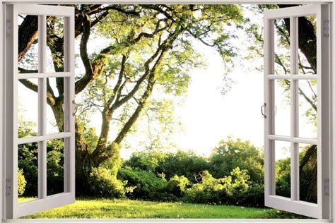 in the garden wall stickers 3d window tree garden view wall stickers mural