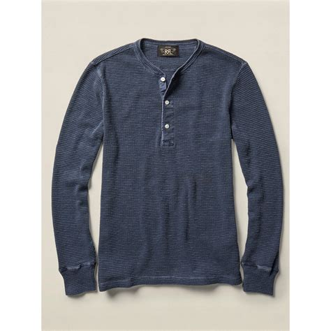 Rrl Waffle Knit Cotton Henley In Blue For Lyst