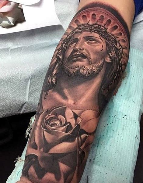 jesus crown of thorns tattoo for men leg sleeve tattoos