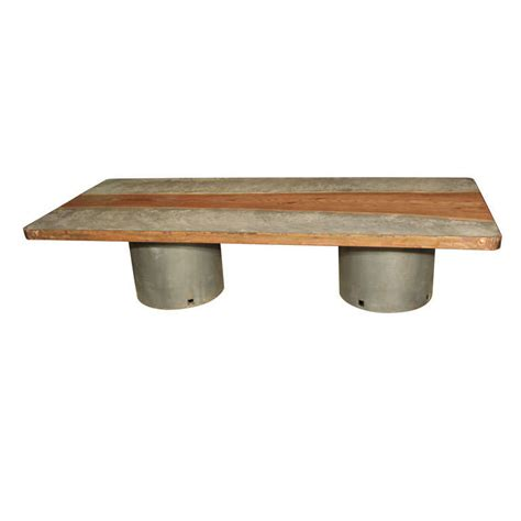 concrete top coffee table concrete and wood top coffee table at 1stdibs