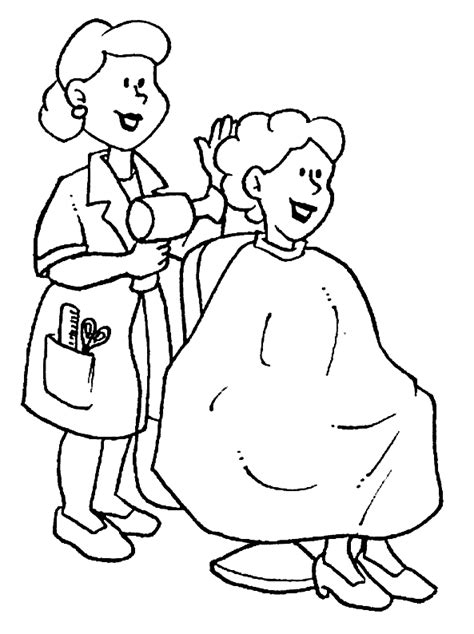 coloring pages hairdresser coloriage metiers coiffeurs 224 colorier allofamille