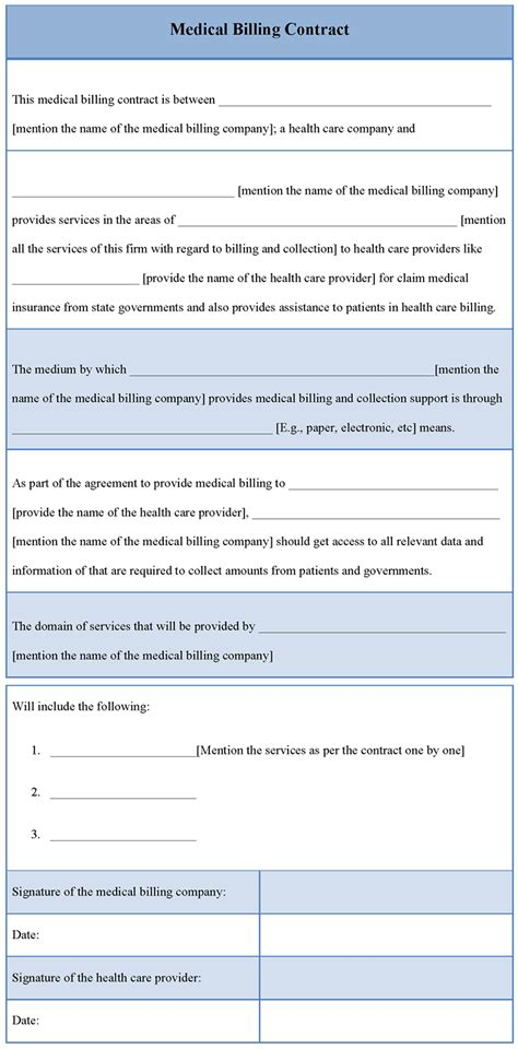 medical template for billing contract template of medical