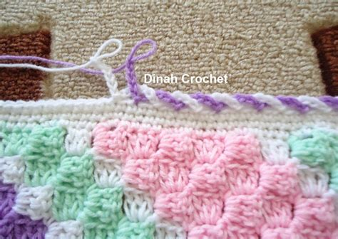 dinah crochet c2c baby blanket edging ch 6 skip 1 stitch sl st in next alternating colors