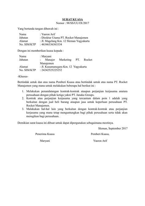 format surat kuasa fif download contoh surat kuasa perwakilan untuk berbagai