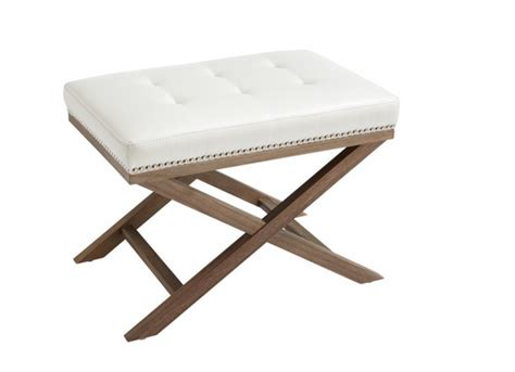 white x bench ottoman chaise rental for home staging by luxury