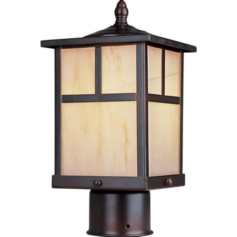 Outdoor Pole Lighting Maxim Lighting Coldwater 1 Light Burnished Outdoor Pole Post Mount 4055hobu The Home Depot