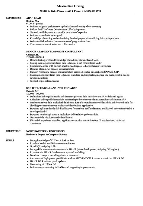 Abap Developer Sle Resume by Abap Resume Sles Velvet