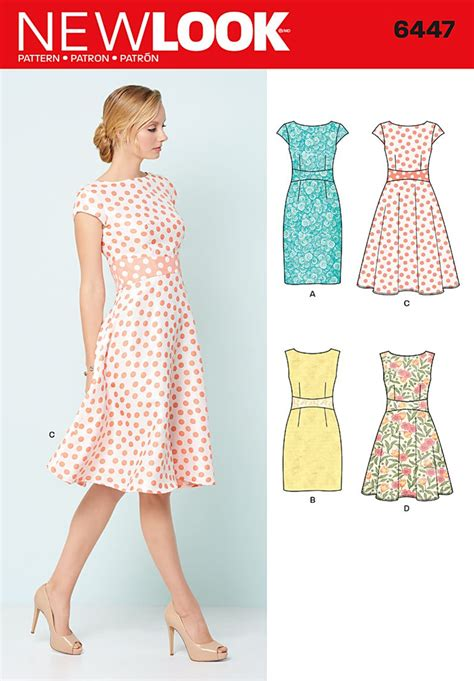 pattern sewing online new look 6447 misses dresses