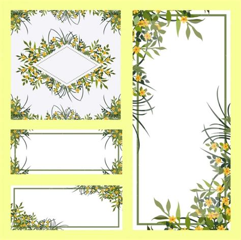 border templates for adobe illustrator borders templates sets flowers decoration free vector in