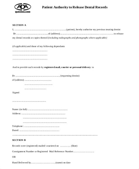 request for release of records template sle dental records release form 8 exles in word pdf