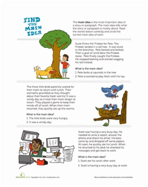 Finding The Idea Worksheets by Finding The Idea Worksheet Worksheets