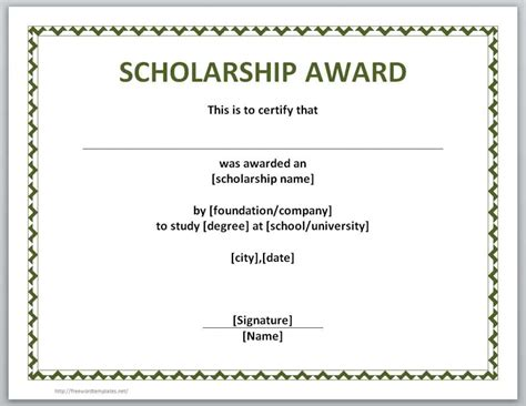 Free Templates For Scholarship Awards | 13 free certificate templates for word microsoft and