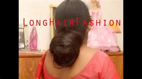 the biggest hair bun in the world biggest bun fall dense long hair of a house wife youtube
