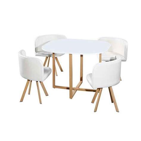 table avec 4 chaises encastrables blanc 100x100x75 cm