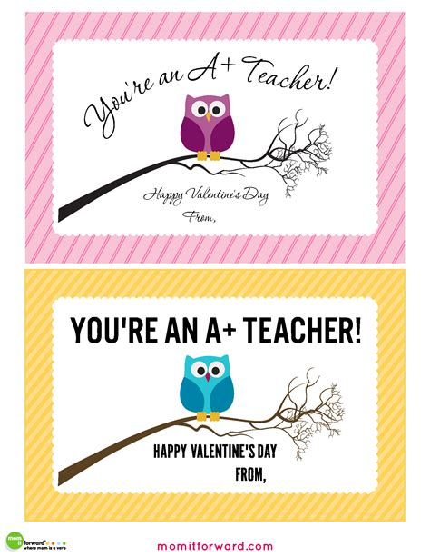 Printable Valentine Card For Teacher | teacher valentines day cards printable mom it forwardmom